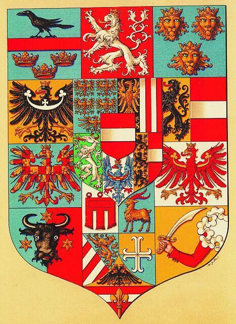 Empire of Austria-Hungary, shield of the medium coat of arms of the Austrian Countries, 1915-1918, Hugo Gerhard Ströhl.