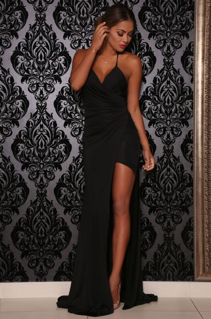 Black halter Pearl evening dress with slit (Abyss by Abby)