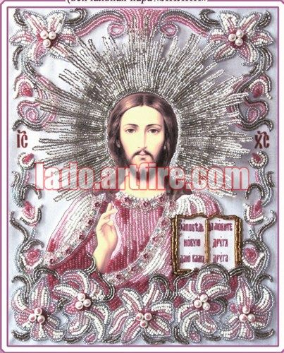 Jesus Christ a part of lilies bordered wedding pair icon DIY kit