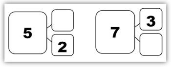 Common Core: Number Bond Flashcards (Part-Part-Whole). Flashcards for all number bonds to 10.     Suggestions for use:  - Use with two color counters to build conceptual understanding of parts and whole  - Use as flashcards for a warm-up or filler activity  - Use as a story starter; students can write a story illustrating the number bond   $