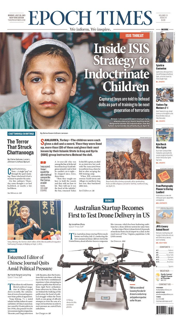 Epoch Times (New York City) via Today's Front Pages | Newseum #newsdesign #newspapers