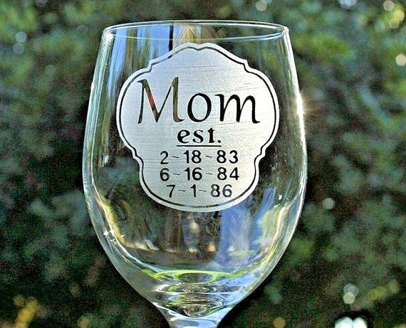 Wine Glass Personalized Mothers dayGift for Mom New by ScissorMill