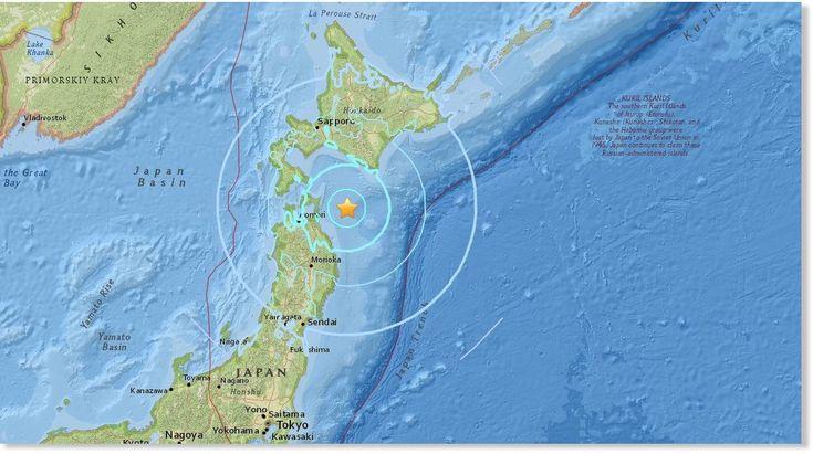 Un tremblement de terre de magnitude de 6,2 secoue le Japon, selon l'agence météorologique du Japon. Des secousses de 4 sur l'échelle de Shindo ont été ressenties sur l'île d'Hokkaidō, ainsi que dans les préfectures d'Aomori et d'Iwate sur l'île...
