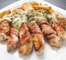 Recette - Allumettes au poulet et lard fumé sauce au Gorgonzola - Notée 4.3/5 par les internautes