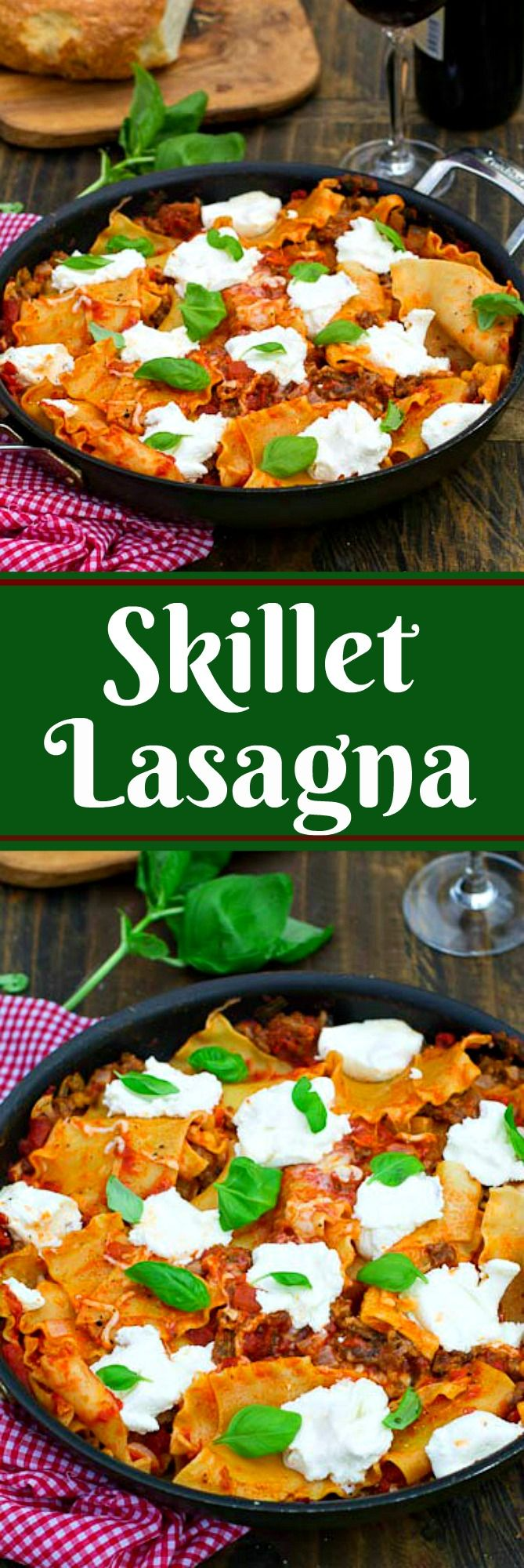 This is an easy but tasty lasagna flavored with sausage and large dollops of ricotta cheese and sprinkled with fresh basil. It's cooked in a skillet and can be made start to finish in less than 45 minutes.