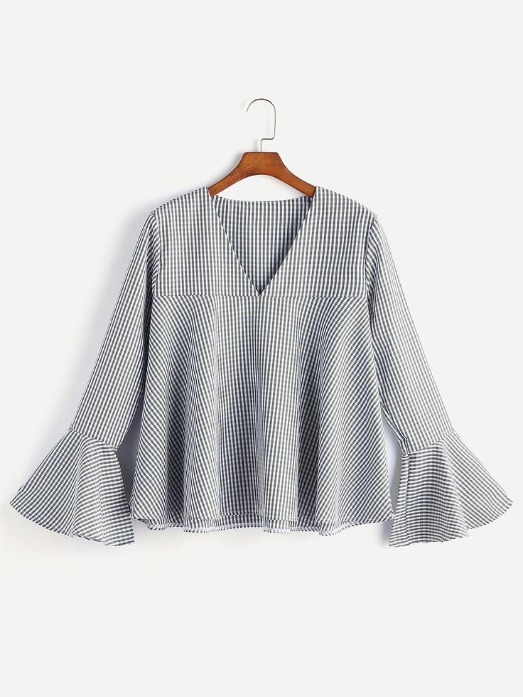 Shop V Neckline Gingham Bell Sleeve Top online. SheIn offers V Neckline Gingham Bell Sleeve Top & more to fit your fashionable needs.
