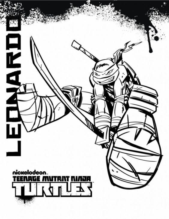 Online Leonardo Teenage Mutant Ninja Turtles Coloring Page