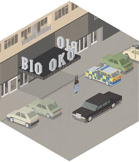 Bio OKO cinema in Prague by JAN SRAMEK, illustrator represented by OWL Illustration agency www.owlillustration.com