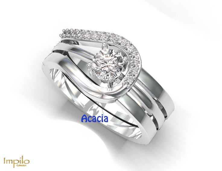 """""""Acacia"""" - Round brilliant cut diamond engagement ring. Set with extra pattern of diamonds surrounded on top."""