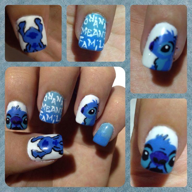 Lilo and stitch nailart blue and white nails, Ohana means family