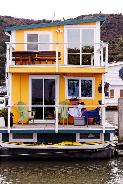 Yellow house boat - I would LOVE to have a look through this one - - To connect with us, and our community of people from Australia and around the world, learning how to live large in small places, visit us at www.Facebook.com/TinyHousesAustralia