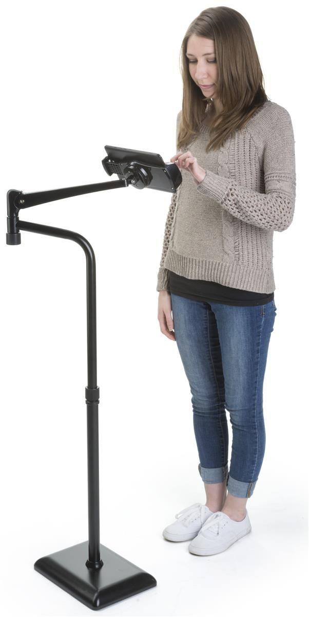 Adjustable iPad Floor Stand w/ Perpendicular Arm, Rotating & Tilting Bracket - Black