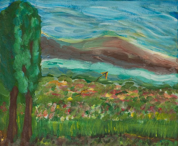 I have a paper kite original painting with acrylic on canvas Spring landscape by ludmilu on Etsy