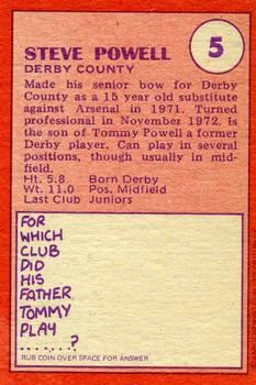 1974-75 A&BC Gum #5 Steve Powell Back