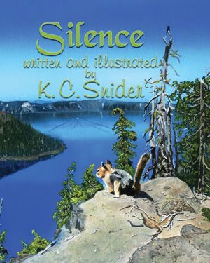 Silence, beautifully illustrated by K.C. Snider, is a completely wordless book. The lifelike artwork -- nearly photographic -- takes us a through a year in the life of a Golden Mantel  ground squirrel living at Oregon's only National Park.,Crater Lake.  The squirrel leads the reader on a wordless journey where the reader can interpret the story.