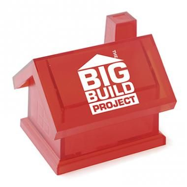 Printed House Shape Money Box - RED BLUE WHITE TRANSPARENT :: Promotional Piggy Banks :: Promo-Brand Promotional Merchandise :: Promotional Branded Merchandise Promotional Products l Promotional Items l Corporate Branding l Promotional Branded Merchandise Promotional Branded Products London