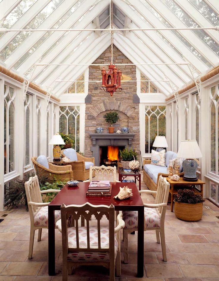 Gothic style conservatory with fireplace