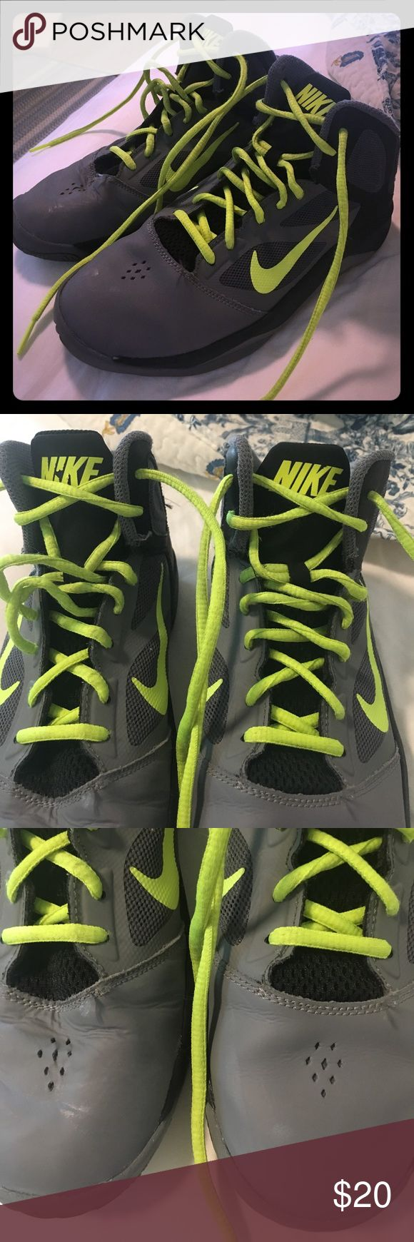 Nike Dual Fusion Basketball GrayVolt Youth Sneaker Very good condition. Some wear shown on top of shoe in picture and inner top of shoe near ankle. Considering offers. Nike Shoes Sneakers
