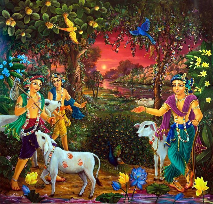 Lord Krishna with his Friends.