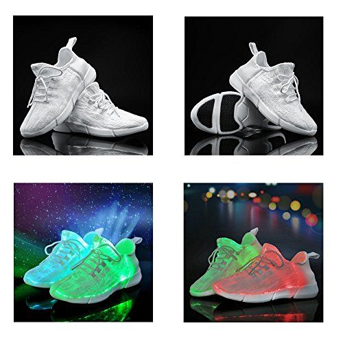 Amazon.com | Idea Frames Fiber Optic LED Light Up Shoes White For Women Men Girls Boys 11 Colors Flashing USB Rechargeable Fashion Sneakers Christmas Gift | Fashion Sneakers