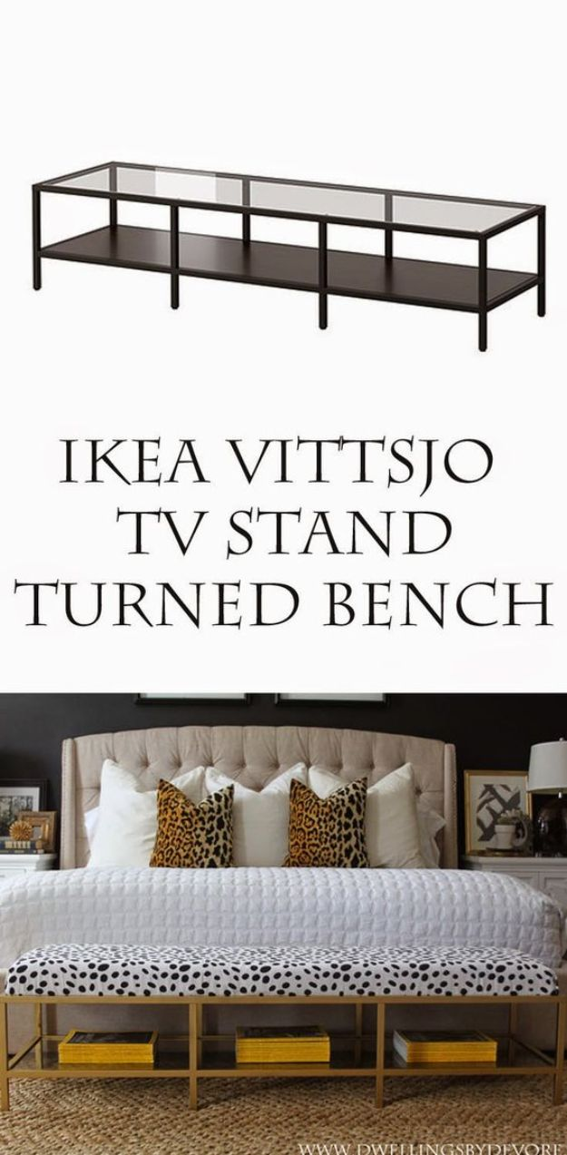 Best IKEA Hacks and DIY Hack Ideas for Furniture Projects and Home Decor from IKEA - Gold Upholstered Bench Tutorial - Creative IKEA Hack Tutorials for DIY Platform Bed, Desk, Vanity, Dresser, Coffee Table, Storage and Kitchen, Bedroom and Bathroom Decor http://diyjoy.com/best-ikea-hacks