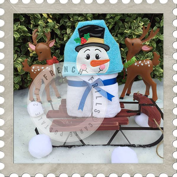 Holiday Snowman hooded towel design. #Embroidery #Applique
