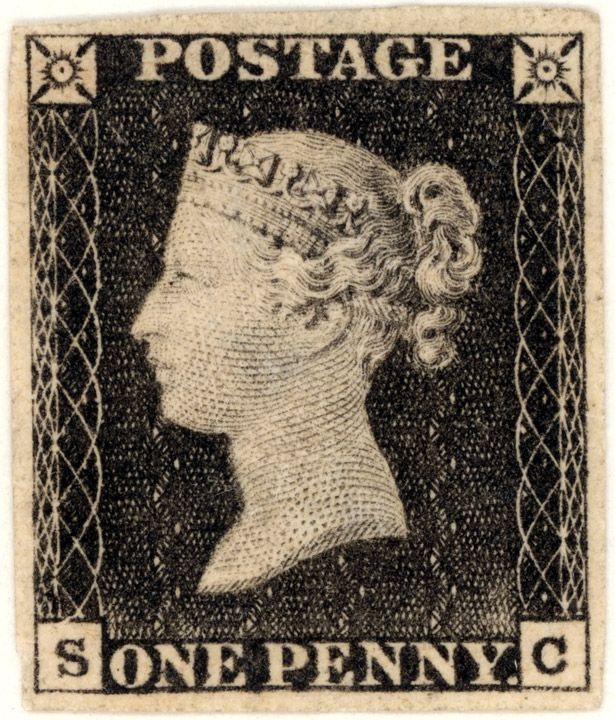 The world's first adhesive postage stamp, the Penny Black (issued 1 May 1840, Britain)