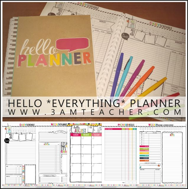 Time to get organized and get this year started RIGHT!! Get my Hello Planner with over 200 custom made pages for only $15.50! Unique design by The 3AM Teacher!
