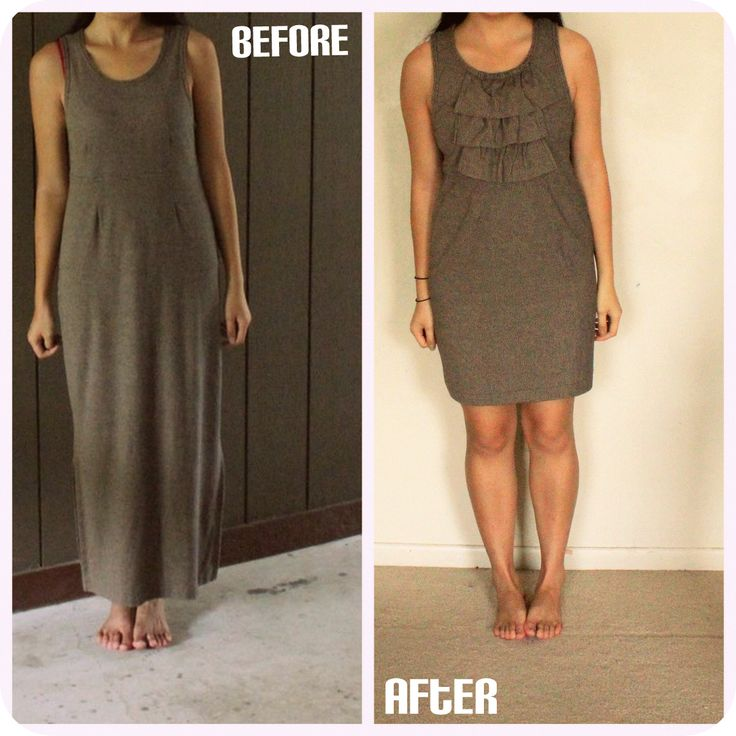 thrifted dress refashion DIY- I'm not a fan of maxi dresses, but they certainly offer enough fabric to have fun refashioning