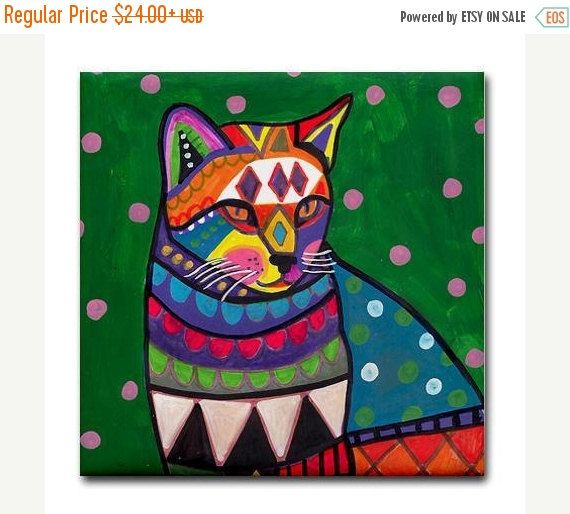 50% Off Today- CAT art Tile Ceramic Coaster Mexican Folk Art Print of painting by Heather Galler cat Gift