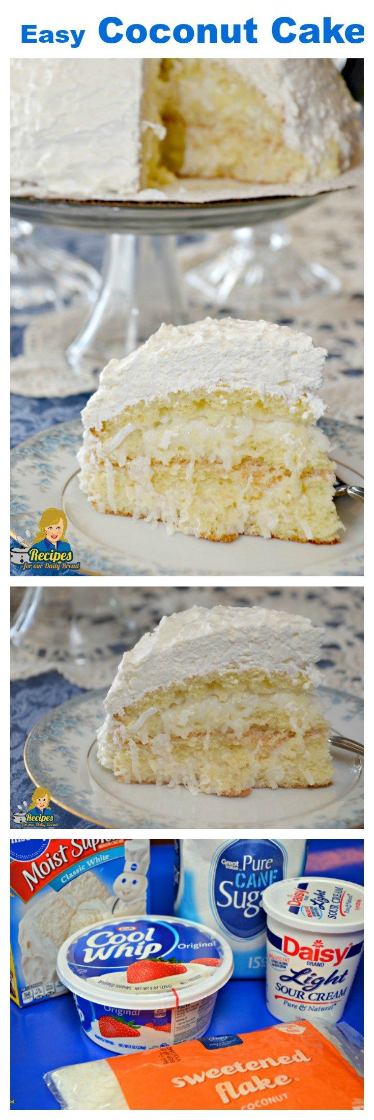 Easy Coconut Cake is made using 5 simple ingredients including cake mix, coconut, sugar, sour cream and whipped topping. Simple to make and super delicious.