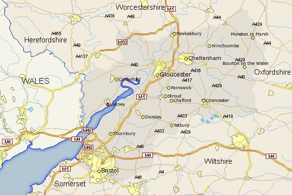 manor of lydney gloucestershire england | Gloucestershire Map Showing Location of Lydney