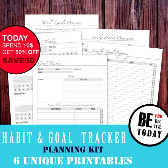 Habit Tracker Goal Planner A4 A5 Letter by BeProductiveToday