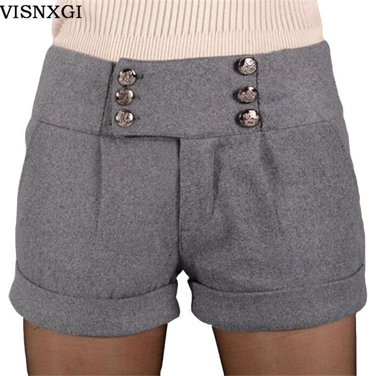 New Style Design Shorts Women Short Trouses Winter Thick Fashion Girl Woolen Warm Woman Fold Plus Size Clothing With Six Buttons
