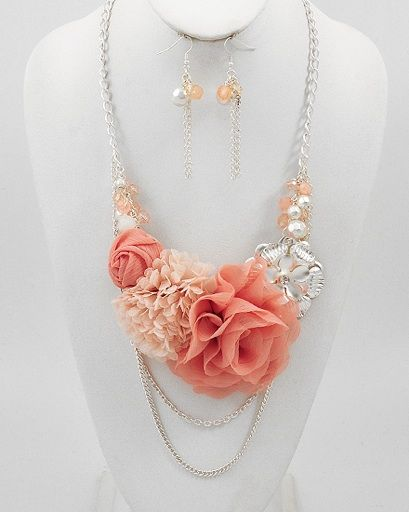 Jewelry Fabric Necklace | Fabric Flower and Acrylic Bead Statement Necklace and Earring Set
