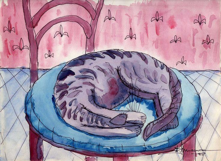 Laisser le chat dormir ici! Encre et aquarelle 1985. par #ainnamaa