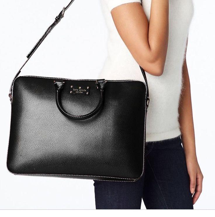 $ 229 Kate Spade Briefcase Laptop Handbag Wellesley Tanner Bag Black Leather New NWT #katespade #MessengerCrossBody