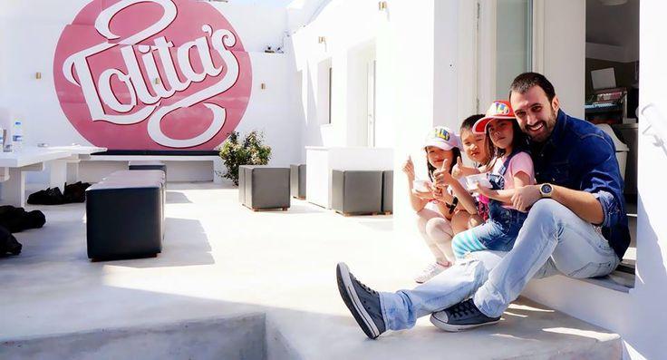 Homemade gelato and warm family memories in Santorini. Santorini Travel Tots love home made Lolita's gelato in Oia Santorini Greece