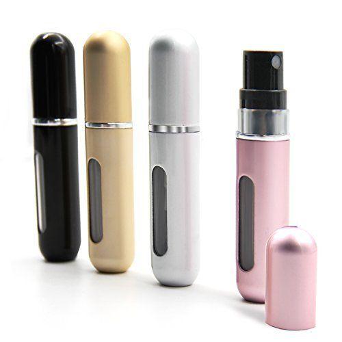 Aodoor 4 Pcs Mini Flacon Pompe de Parfum, aluminium 5ml Portable Facile a remplir Atomiseur de Parfum Flacon de Pulvérisation Voyage / Sac…