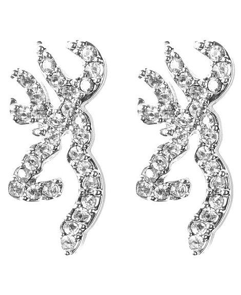 Browning Rhinestone Embellished Buckmark Logo Earrings