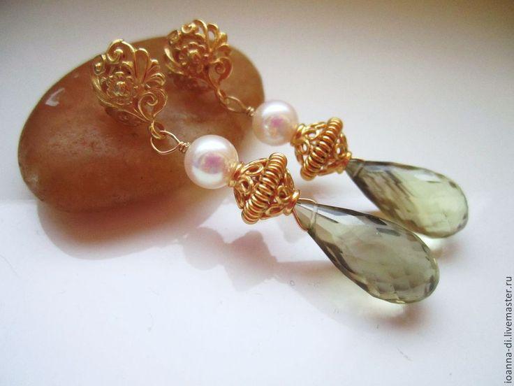 """Купить Серьги """"Рrincess"""" морской жемчуг, серебро - золотой, серьги с камнями, серьги с жемчугом"""