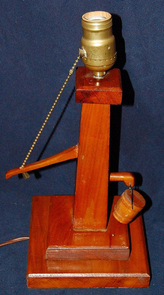 Vintage Wooden Water Pump Lamp 13 Quot Plus Tall Handcrafted