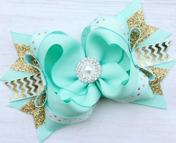 MINT and GOLD BOW with Headband Big Girls от ModernMeCollection