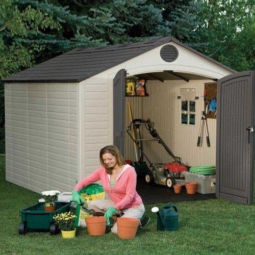 lifetime 8ft wide x 10ft deep plastic shed garden shedsentranceplastic