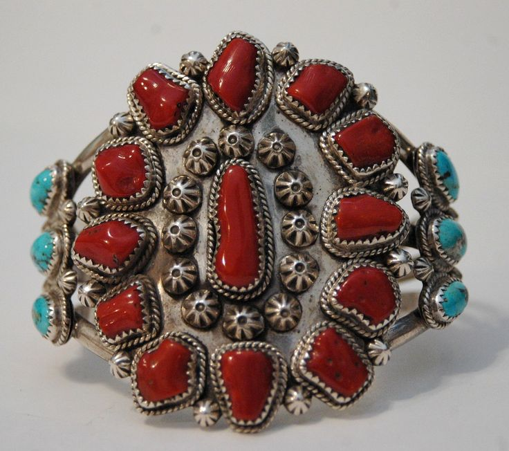 Vintage Navajo Cuff, Sterling silver, coral and turquoise.