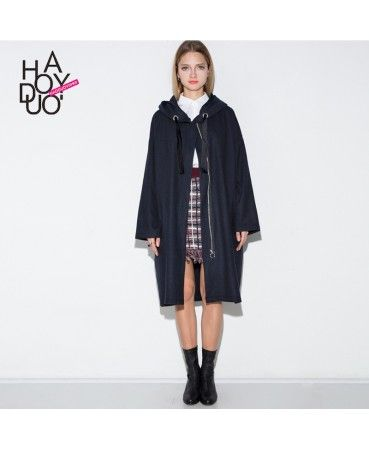 Vintage style casual hooded trench coat A0877