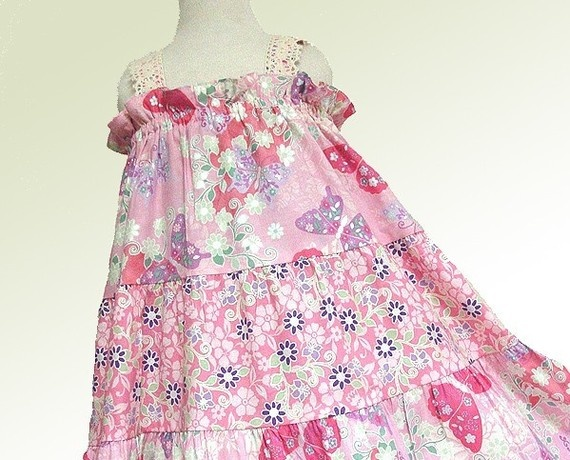 Custom Boutique Girls Dress, Pink Butterfly Girls Twirl Dress, Handmade Custom Girls Dresses and Clothes by BerryPatch USA
