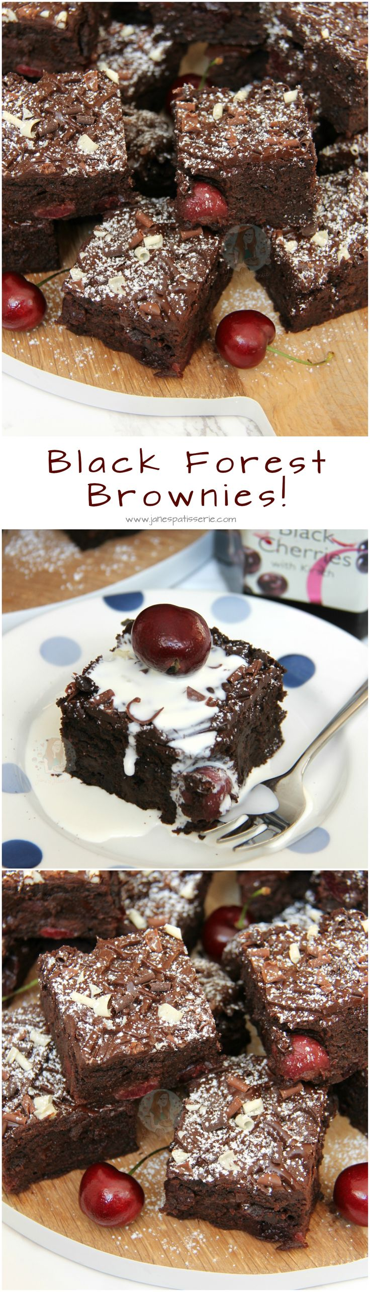 Black Forest Brownies! ❤️ Dark Chocolate Chip Brownies, Cherries in Kirsch, Fresh Cherries, and even more Chocolate on top.