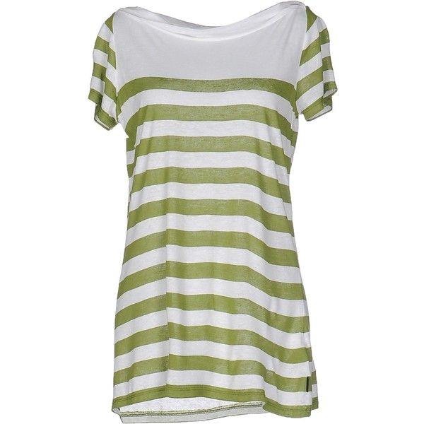 Burberry Brit T-shirt (6.410 RUB) ❤ liked on Polyvore featuring tops, t-shirts, green, jersey tee, burberry t shirt, burberry tee, green jersey and drape neck tops