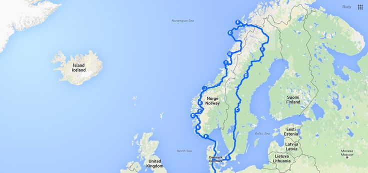 Onze route door Zweden en Noorwegen